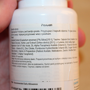 Profolan skład na ulotce ma naturalny i przebadany przez lekarzy